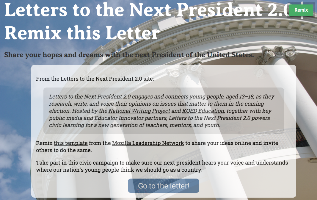 An image of the Letters to the Next President 2.0 remixable letter project