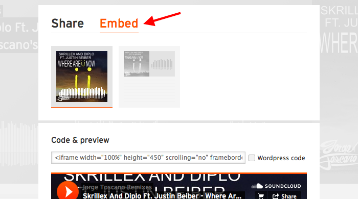 A screen capture of the embed pane on a Soundcloud song