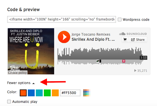 A screen capture of the embed options on a Soundcloud song